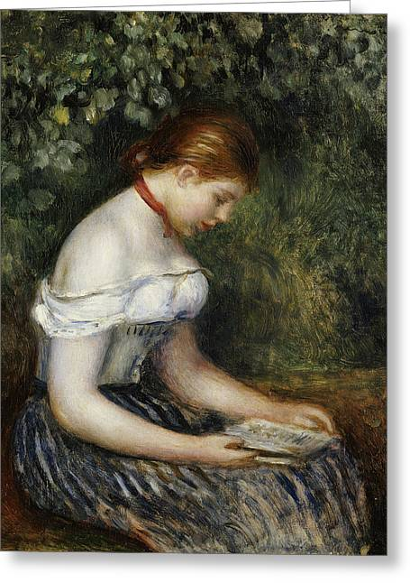 The Reader A Seated Young Girl  Greeting Card