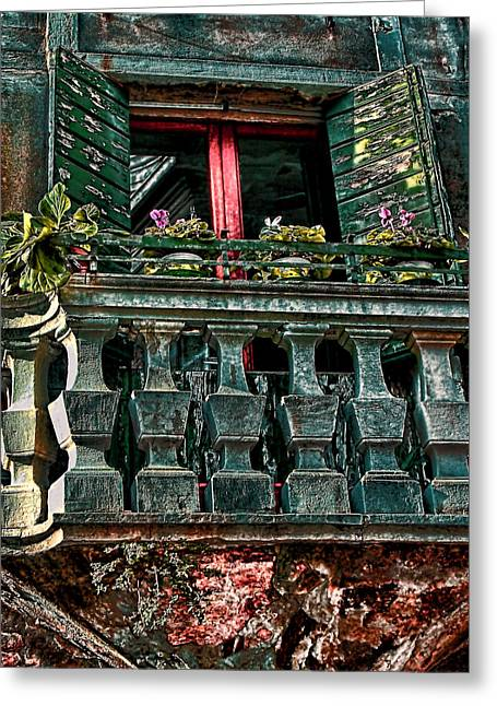The Rear Window Venice Italy Greeting Card by Tom Prendergast