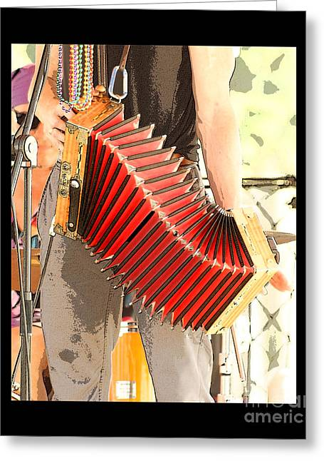 The Red Accordian Greeting Card by Margie Avellino
