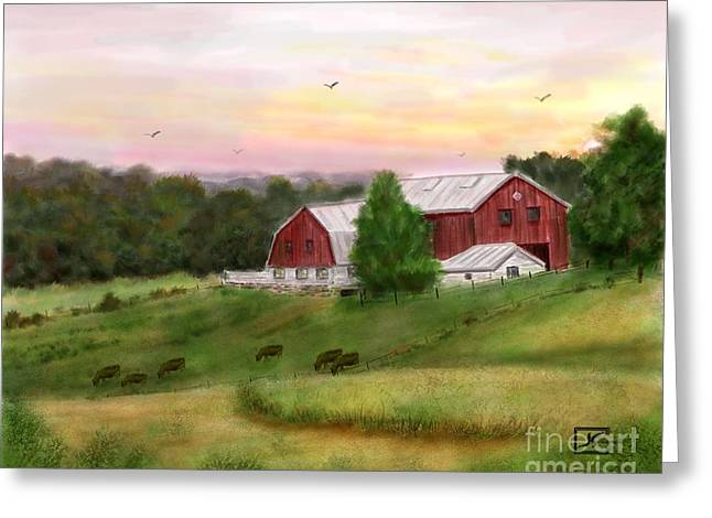 The Red Barn At Sunset Greeting Card by Judy Filarecki