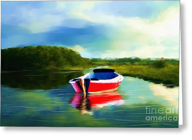 The Red Boat Greeting Card by Earl Jackson