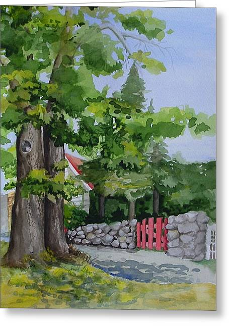 The Red Gate Greeting Card by Judi Nyerges