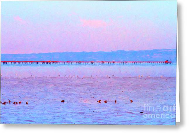 The Red Pier . 7d12310 Greeting Card by Wingsdomain Art and Photography