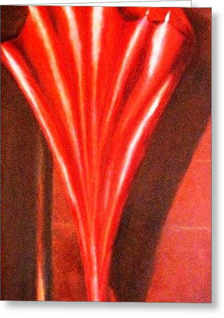 Greeting Card featuring the painting The Red Umbrella by Therese Alcorn