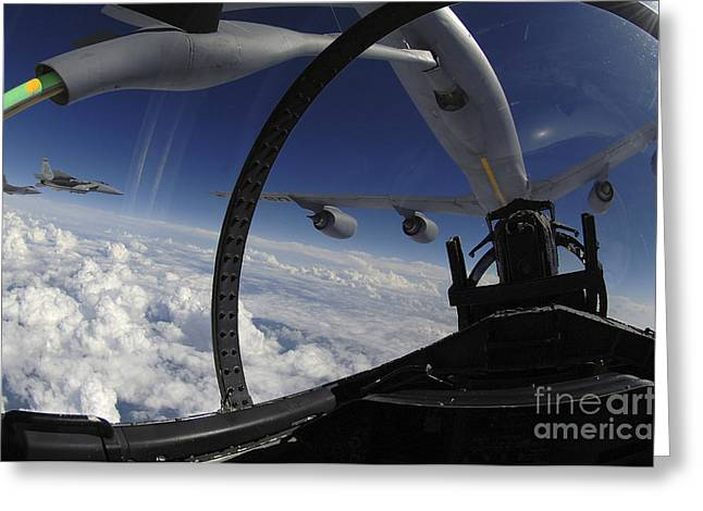 The Refueling Boom From A Kc-135 Greeting Card by Stocktrek Images