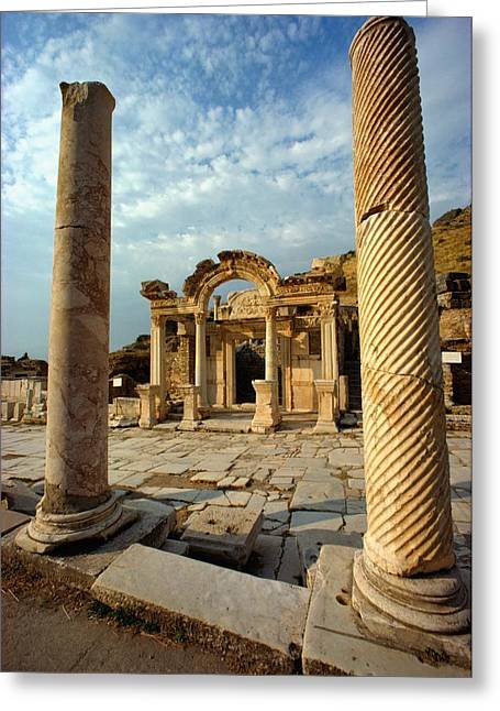 The Remains Of Hadrians Gate At Ephesus Greeting Card by Gordon Gahan