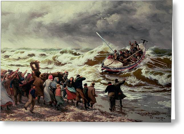The Return Of The Lifeboat Greeting Card by Thomas Rose Miles