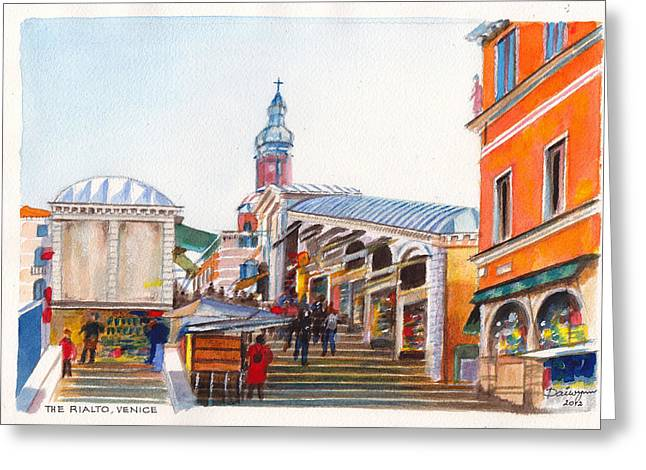 The Rialto Bridge Over The Grand Canal In Venice Italy Greeting Card by Dai Wynn