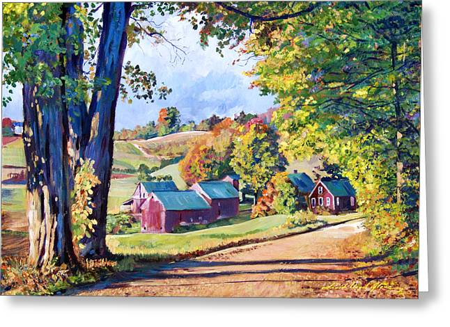 The Road To Jenne Farm Vermont Greeting Card by David Lloyd Glover
