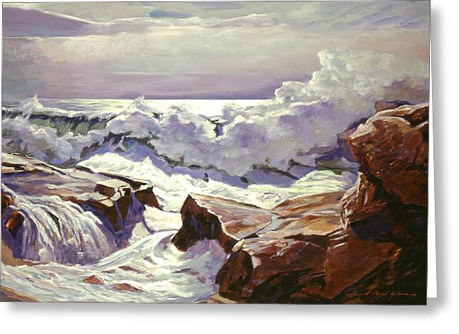 The Roar Of The Surf Greeting Card by David Lloyd Glover