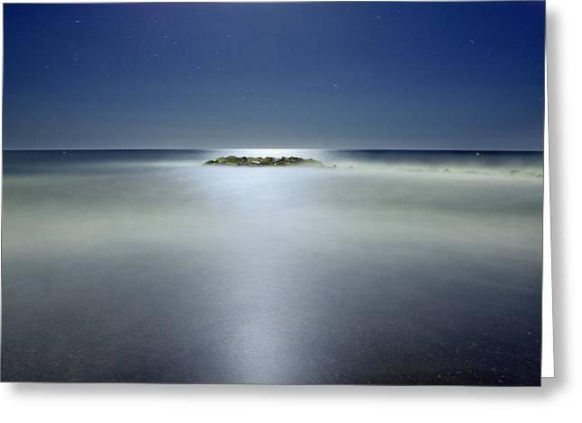 The Rock Island Under De Moonlight Greeting Card by Guido Montanes Castillo
