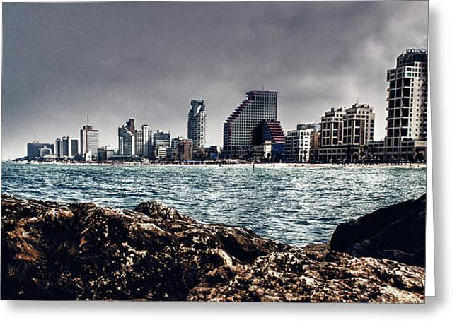 The Rocks_the Sea_the City Greeting Card by Amr Miqdadi