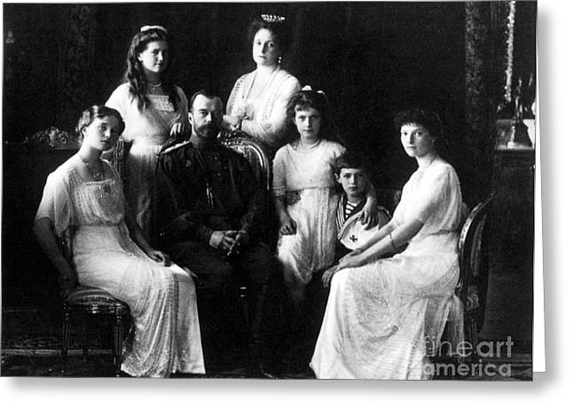 The Romanovs, Russian Tsar With Family Greeting Card by Science Source