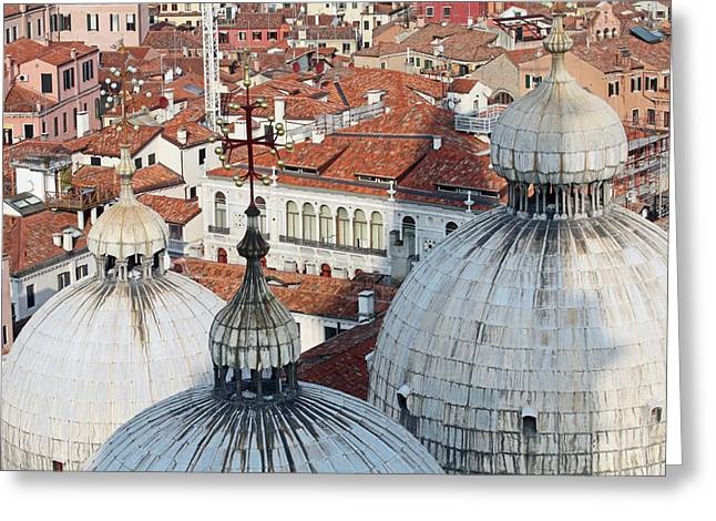 The Rooftops Of Venice Greeting Card by Pam Blackstone
