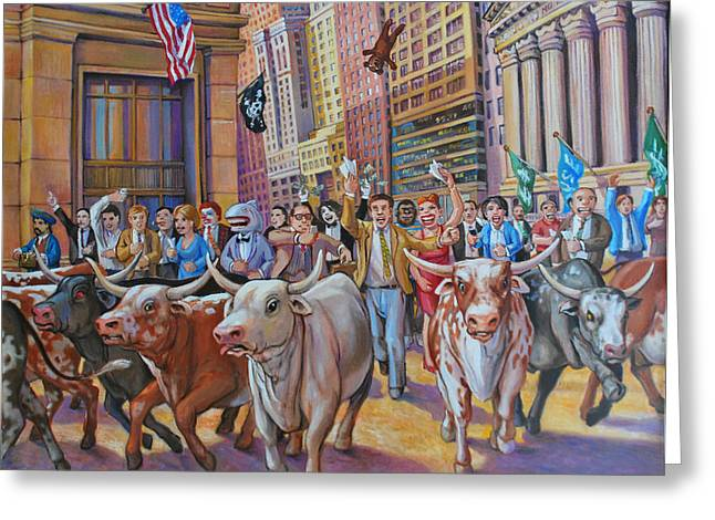 The Running Of The Bulls Greeting Card by Henry David Potwin