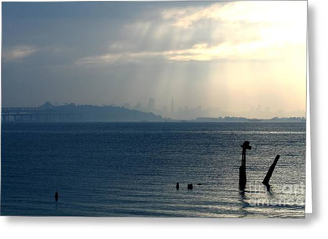 The San Francisco Bay Greeting Card by Wingsdomain Art and Photography