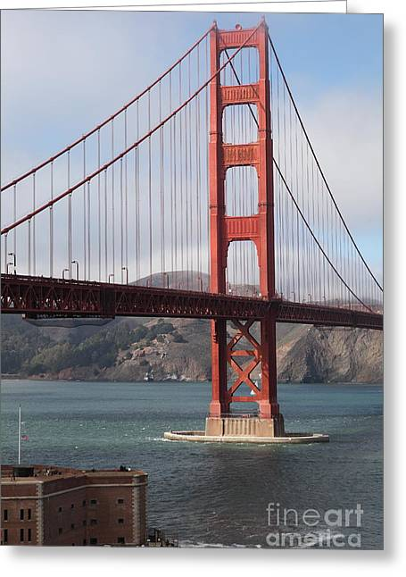 The San Francisco Golden Gate Bridge - 5d18911 Greeting Card by Wingsdomain Art and Photography