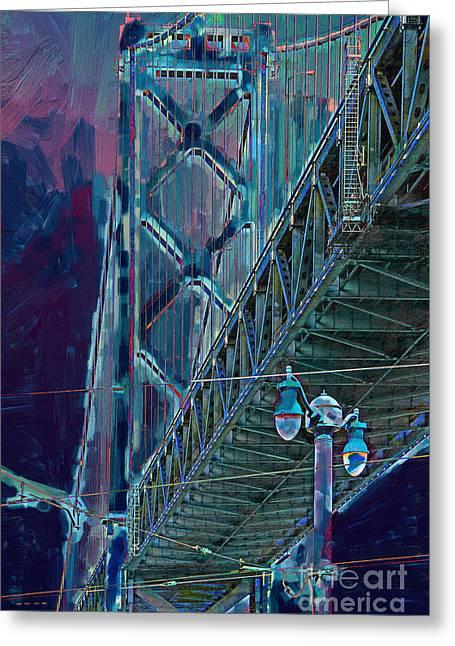 The San Francisco Oakland Bay Bridge Greeting Card by Wingsdomain Art and Photography