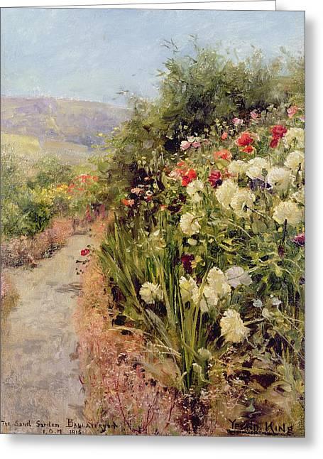 The Sand Garden Ballaterson Isle Of Man Greeting Card by Henry John Yeend King