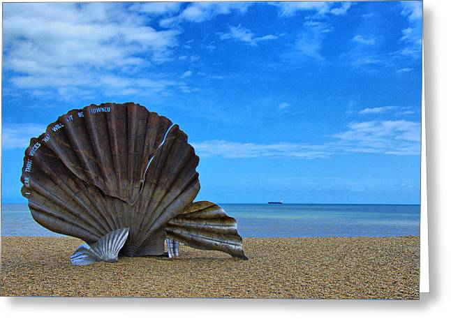 The Scallop. Aldeburgh Beach Greeting Card by Chris Thaxter