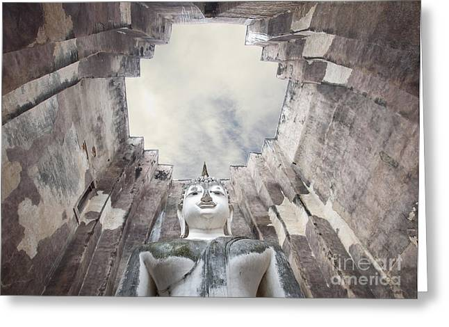 The Sculpture Of Buddha And Blue Sky In Historical Park Thailand  Greeting Card by Anek Suwannaphoom