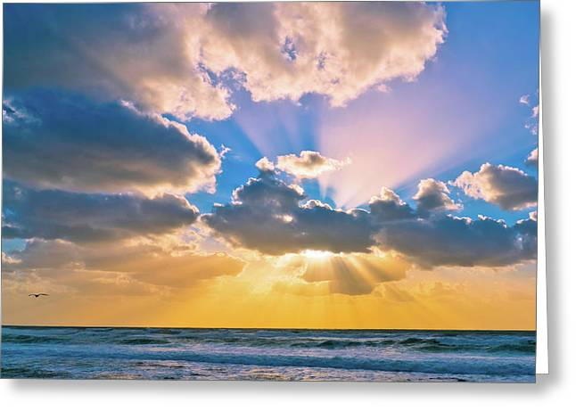 The Sea In The Sunset Greeting Card
