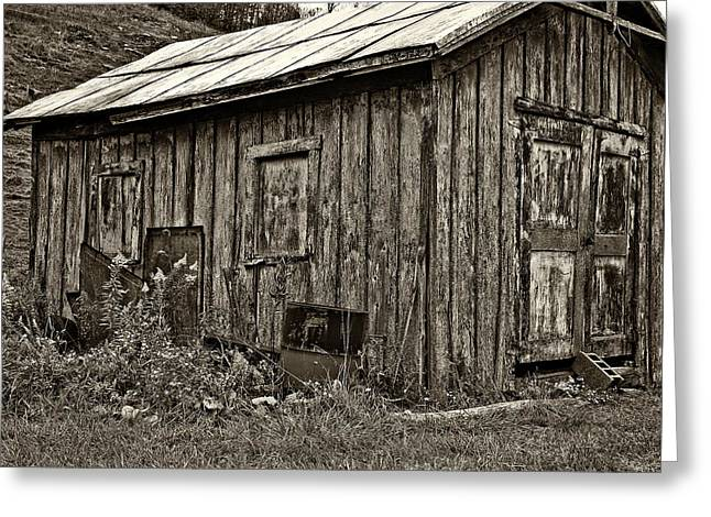 The Shed Sepia Greeting Card by Steve Harrington