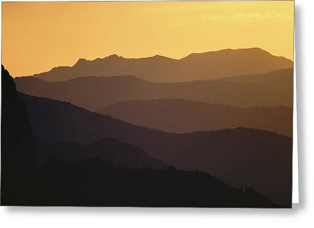 The Silhouetted Mountains Range In Hues Greeting Card by Michael S. Quinton