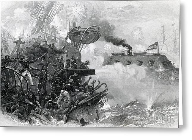 The Sinking Of The Cumberland, 1862 Greeting Card by Photo Researchers