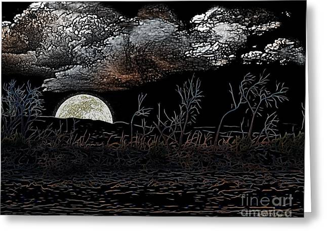 Greeting Card featuring the digital art The Sky Is Low by Rhonda Strickland
