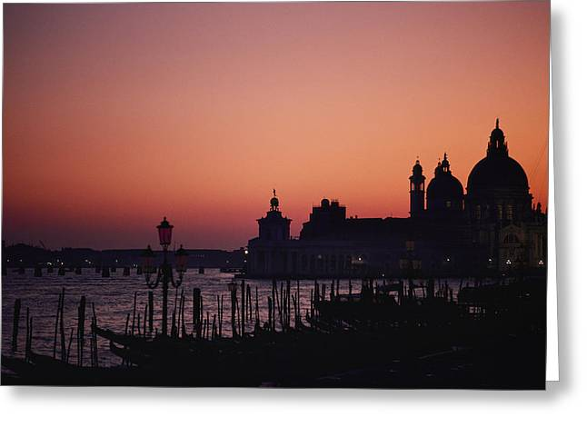 The Skyline Of Venice Silhouetted Greeting Card by Nicole Duplaix