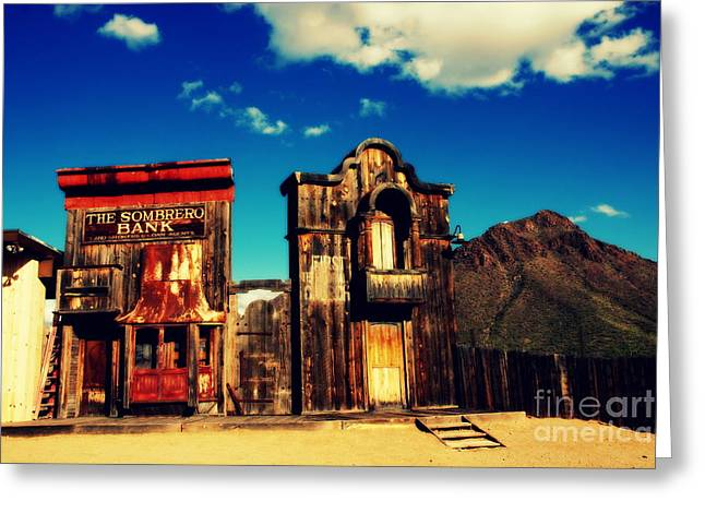 The Sombrero Bank In Old Tuscon Arizona Greeting Card by Susanne Van Hulst