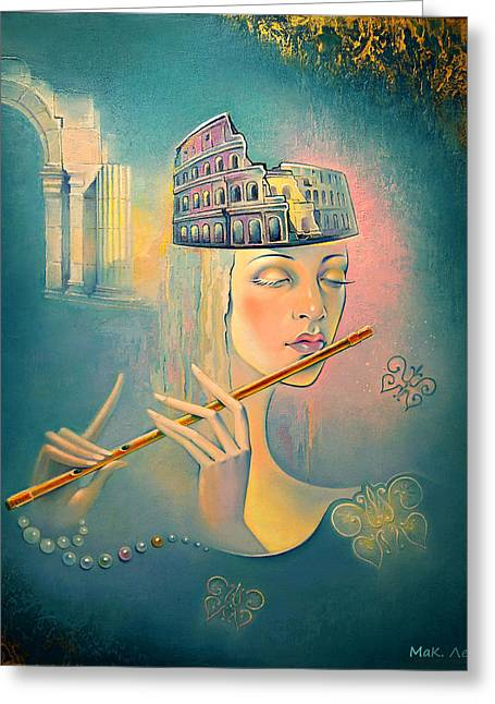 The Song Of The Forgotten Gods Greeting Card by Elena  Makarova-Levina