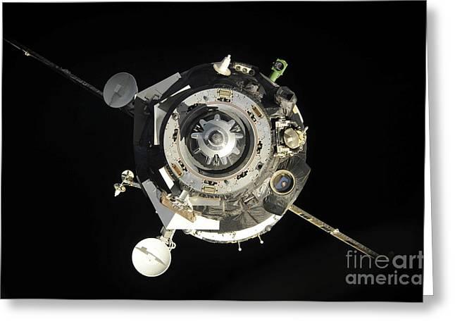 The Soyuz Tma-17 Spacecraft Departs Greeting Card by Stocktrek Images
