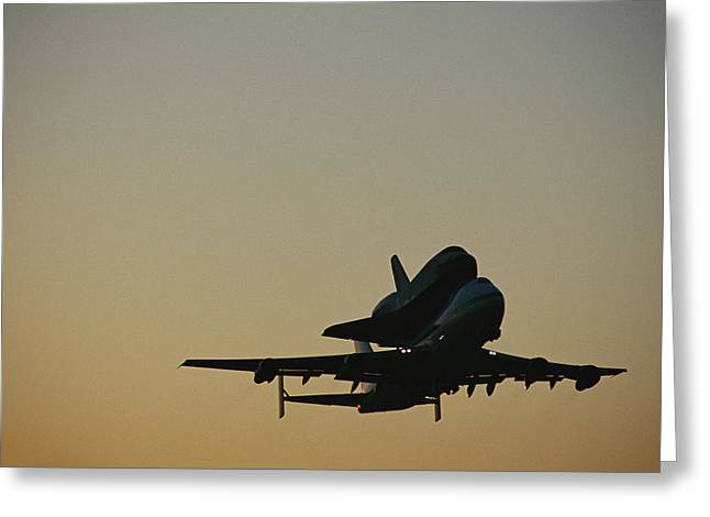 The Space Shuttle Atlantis Piggyback Greeting Card by Marc Moritsch
