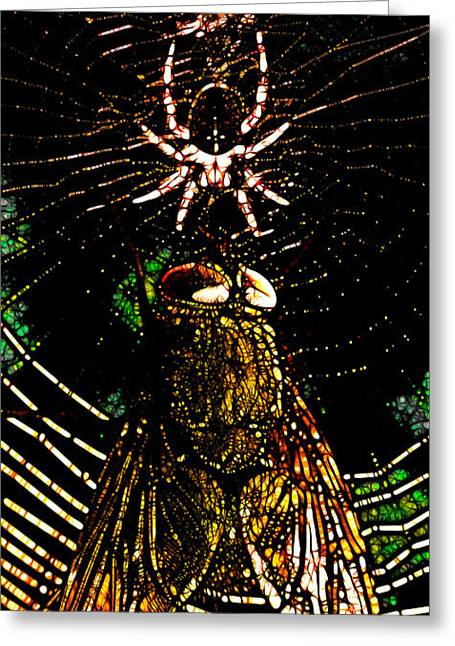 The Spider And The Fly In Abstract Greeting Card by Wingsdomain Art and Photography