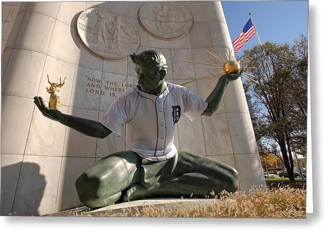 The Spirit Of Detroit Tigers Greeting Card by Gordon Dean II