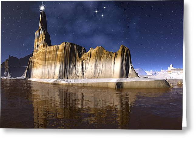 The Star Of Bethlehem Greetings To The World Greeting Card by Heinz G Mielke