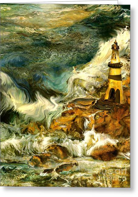 The Steadfast Lighthouse Greeting Card by Anne Weirich