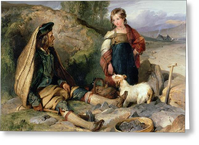 The Stone Breaker And His Daughter Greeting Card by Sir Edwin Landseer