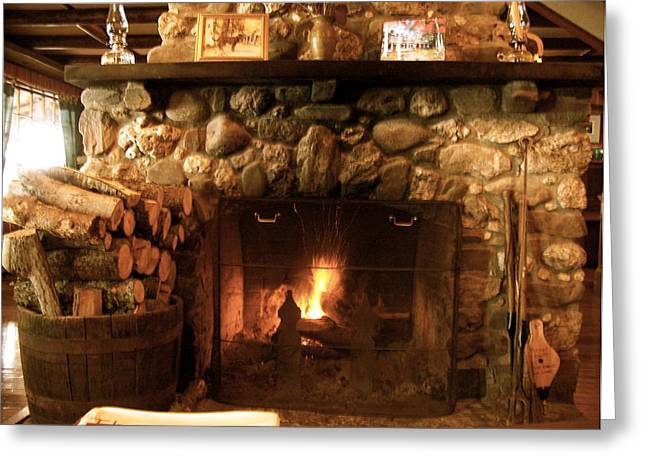 Stone Fireplace Greeting Card