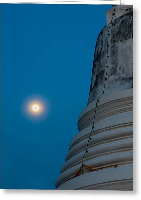 The Stupa In The Night During Full Moon Greeting Card by Ulrich Schade