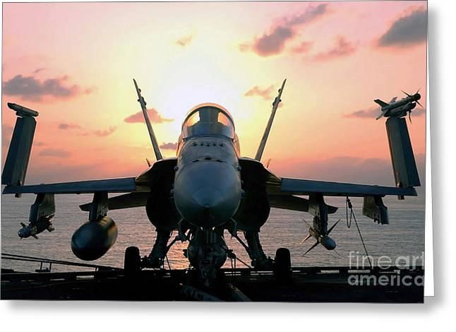 The Sun Rises On An Fa-18 Hornet Greeting Card