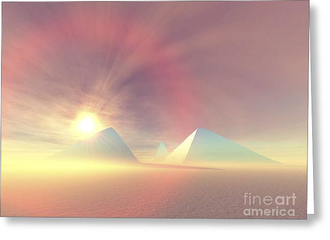 The Sun Rises On Egyptian Pyramids Greeting Card by Corey Ford
