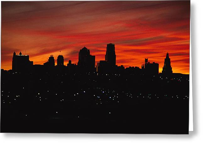 The Sun Rises Over The Skyline Greeting Card by Stephen Alvarez