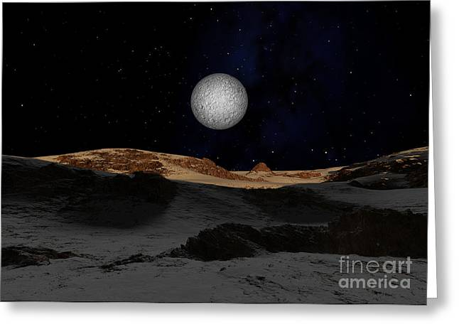 The Surface Of Pluto With Charon Greeting Card by Ron Miller