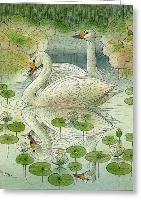 the Swans Greeting Card by Kestutis Kasparavicius