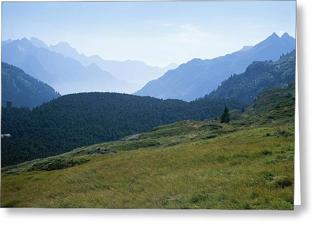 The Swiss Alps Recede Into The Distance Greeting Card by Taylor S. Kennedy