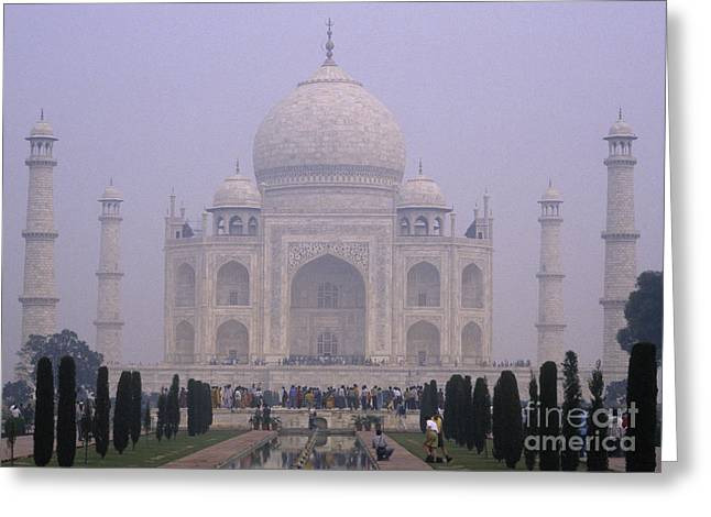 The Taj Mahal In Early Morning Mist Greeting Card by Anne Gordon