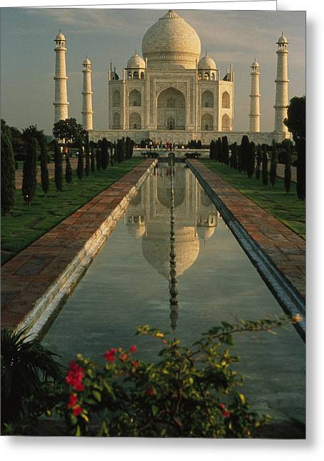 The Taj Mahal With A Reflection Greeting Card by Ed George